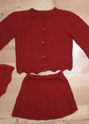 Вязаная кофточка юбка шапка/набор