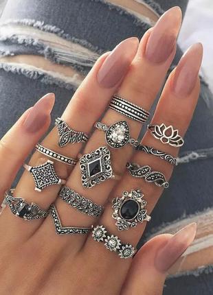 Набор колец 15 шт на все пальцы фаланги бохо инди хиппи винтаж серебро