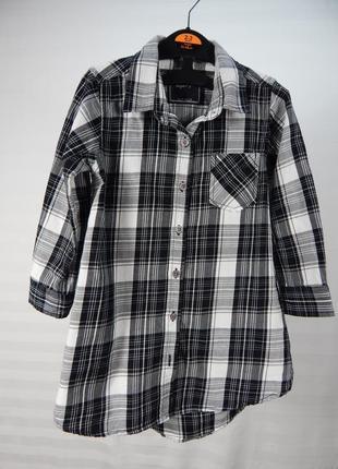 Платье - рубашка в клеточку для девочки 4х лет