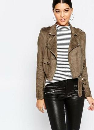 Куртка косуха эко замш коричневая missguided размер xs