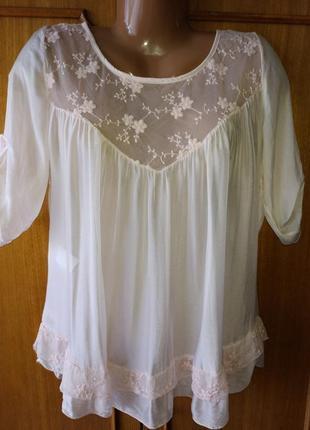 Воздушная, легкая, натуральная блуза today италия, шелк+вискоза, цвет пудра, м