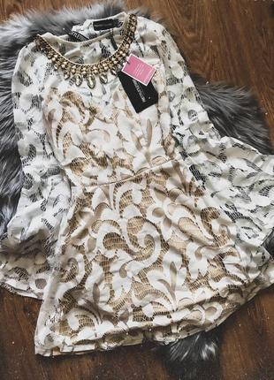 Кружевное белое платье pretty little thing👗