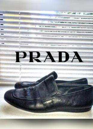 Prada milano мужские кожаные лоферы мокасины слипоны черные туфли прада
