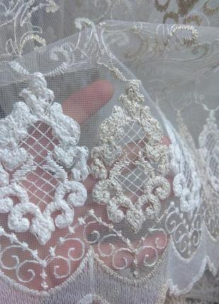 Обалденная турецкая фатиновая тюль с объемной вышивкой и люрекс нитью