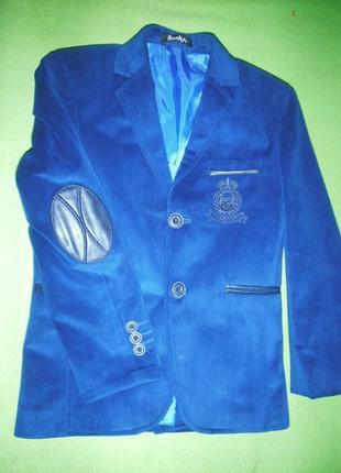 Велюровый пиджак looks красивый, синий