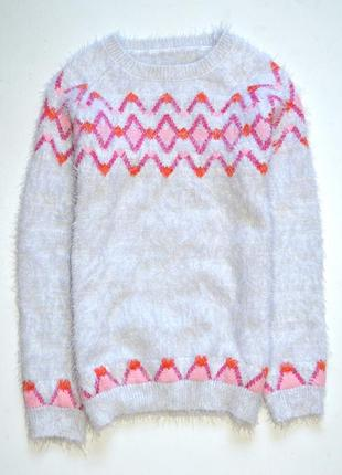 Nutmeg. пушистый свитерок с  орнаментом. 10-11  лет. рост 140-146 см.