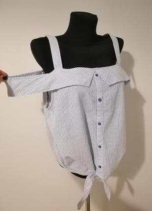 Стильная блуза /майка в полоску с натуральной ткани
