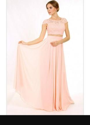 Платье вечернее enigma в виде топа и юбки, соединенных сеткой