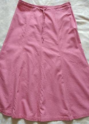 Розовая льняная юбка миди  большой размер