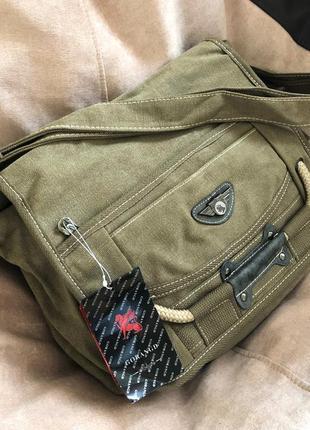 Текстильная мужская сумка - мессенджер через плечо, цвет хаки {коричневая}