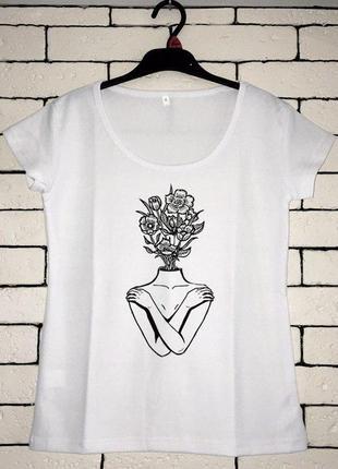Женская футболка с принтом, футболка с рисунком - цветы1 фото