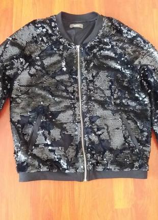 Куртка бомбер бархатная с паетками