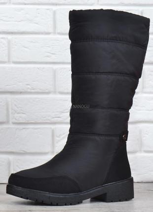 Сапоги женские зимние дутики высокие на молнии prestige черные