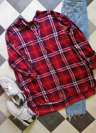 Рубашка в клетку спереди короче сзади длиннее c&a