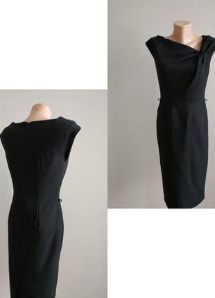 Фирменное черное платье миди деловой стиль