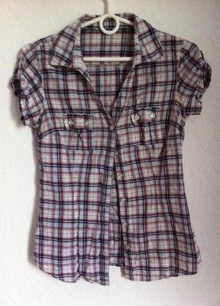 Супер рубашка в клеточку, хлопок, короткий рукав.