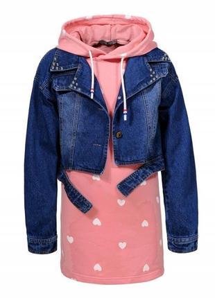 Комплект на девочку джинсовая курточка  и платье.