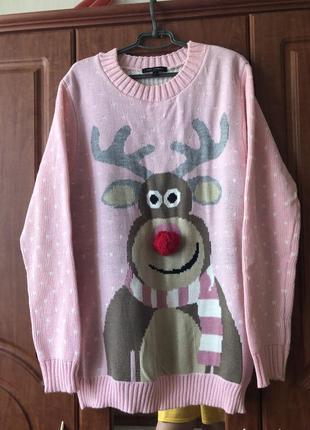 Свитер, свитер новогодний, свитер с оленем, толстовка