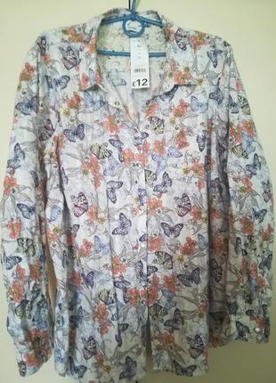 Красивая лёгкая рубашка в красивый принт на кнопках