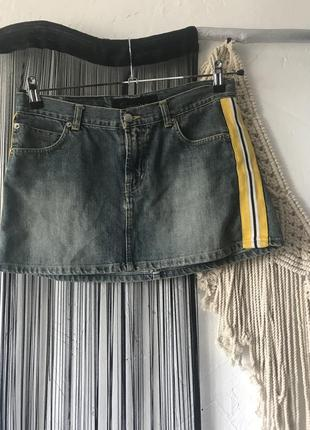 Юбка джинсовая с лампасами по бока! спідниця