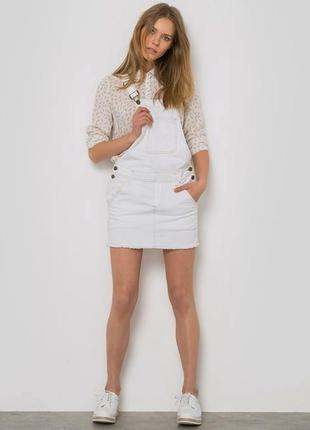Шикарный белый комбинезон юбка, джинсовый суперский1 фото