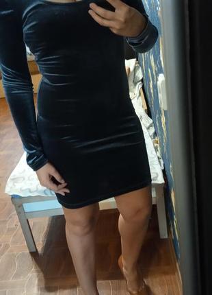Облегающие бархатное платье, серого цвета р с