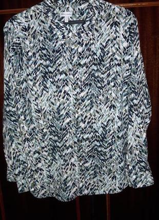Натуральная рубашка с асиметричным узором