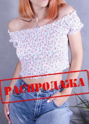 Короткий топ, летняя блуза, топ с открытыми плечами, жатый топ с цветочным принтом