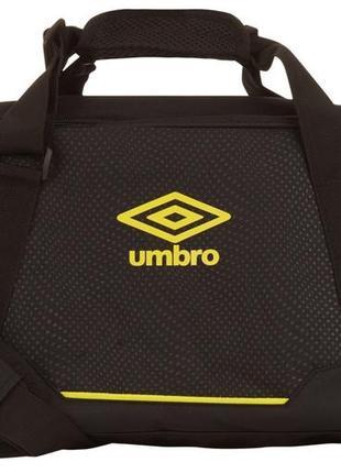 Спортивная дорожная черная сумка с желтым логотипом umbro (оригинал)