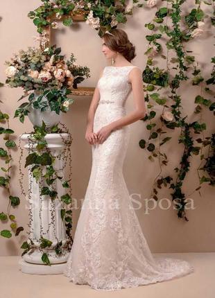 Очень нежное пудровое свадебное платье