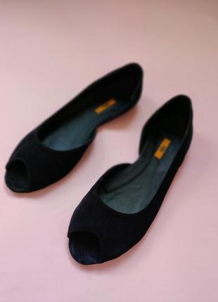 Черный ( тёмно-синие)налурпльные  замшевые  босоножки балетки на низком ходу