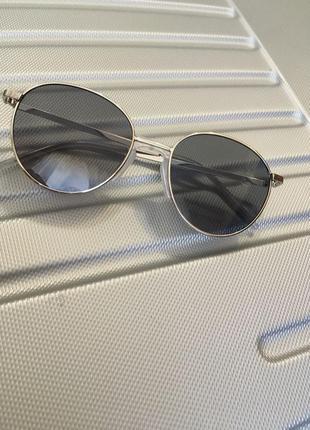 Очки солнцезащитные круглые серые полупрозрачные