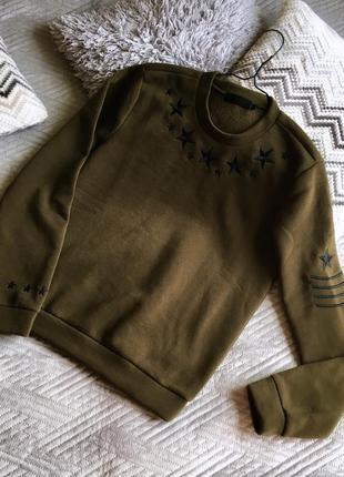 Свитшот милитари цвет хаки военный