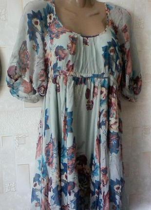 Шелковое  винтажное платье в стиле бохо, шелк от warehous, разм.461 фото
