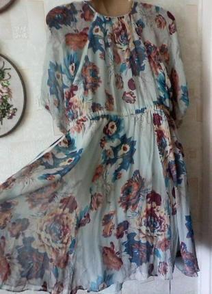 Шелковое  винтажное платье в стиле бохо, шелк от warehous, разм.463 фото