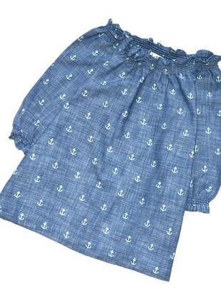 Hatley.  котоновая блуза с якорями и открытыми плечами. 4 года.