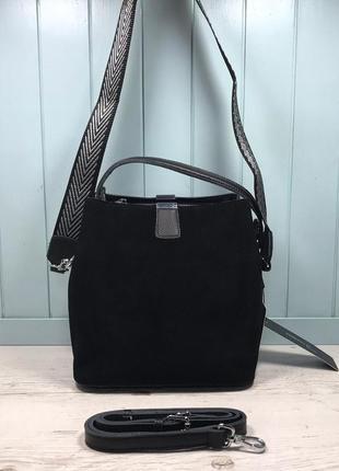 Женская замшевая сумка farfalla rosso жіноча замшева чорна