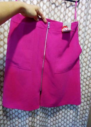 Скидка до 18.08 последняя цена!яркая новая юбка цвет фуксия большой размер 16-18 рр.