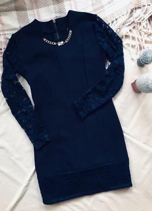 Тёмно-синее подростковое платье