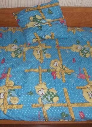 Детское одеяло и подушка на синтепоне