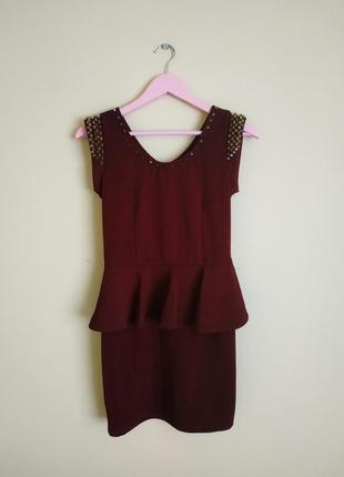 Супер платье бордовое с шипами марсела