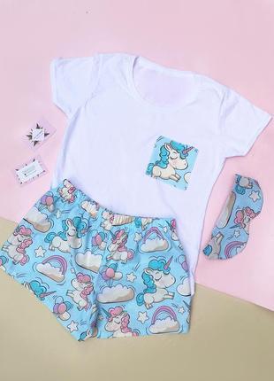 Пижама  с милыми единорожками!маска в подарок