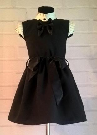 Черный школьный сарафан с бантиком и поясом. школьная форма 122-140