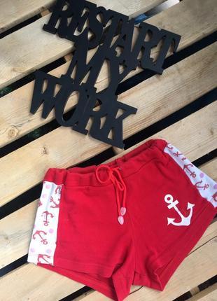 Красные шорты, шорты с якорем, высокая посадка
