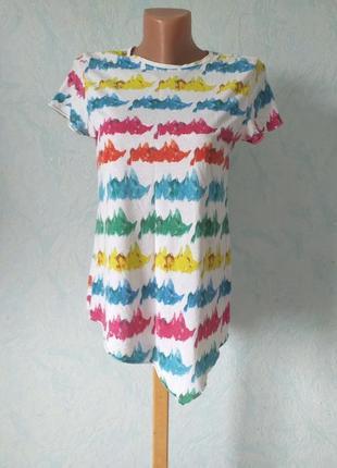 Zara футболка радуга с геометричесеим низом