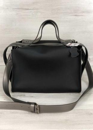 Черная сумка 2 в 1 с косметичкой молодежная через плечо