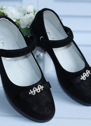 Стильные черные туфли для девочек