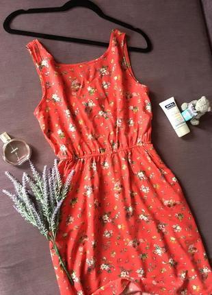 Актуальное красное платье , сарафан clockhouse в мелкие цветы ( вискоза )