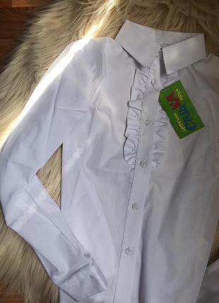 Школьная форма, новая белая блуза с баской на девочку , белая рубашка