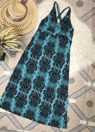 Платье сарафан миди в красивый принт открытая спина